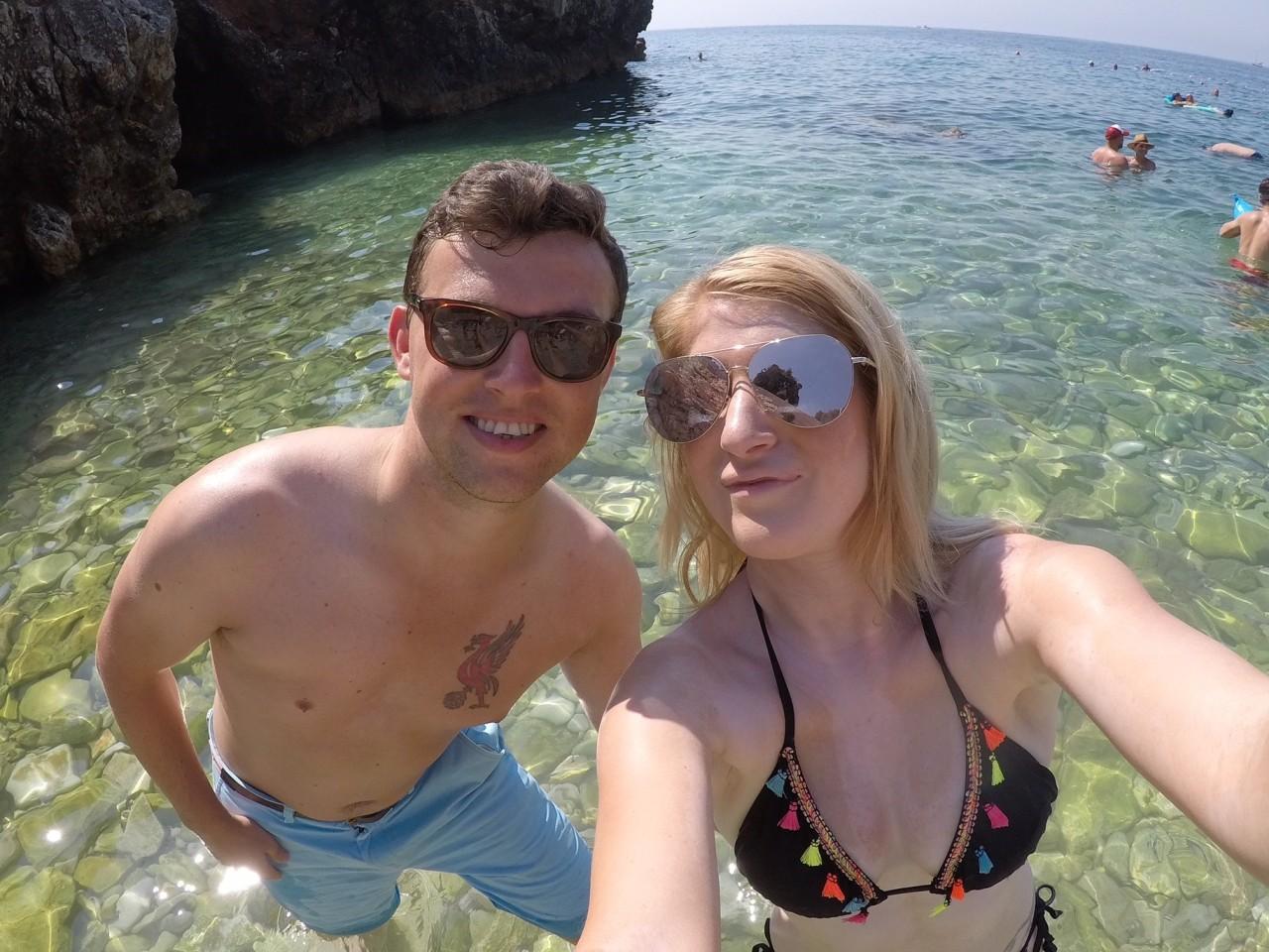 Stoney beach in Pula
