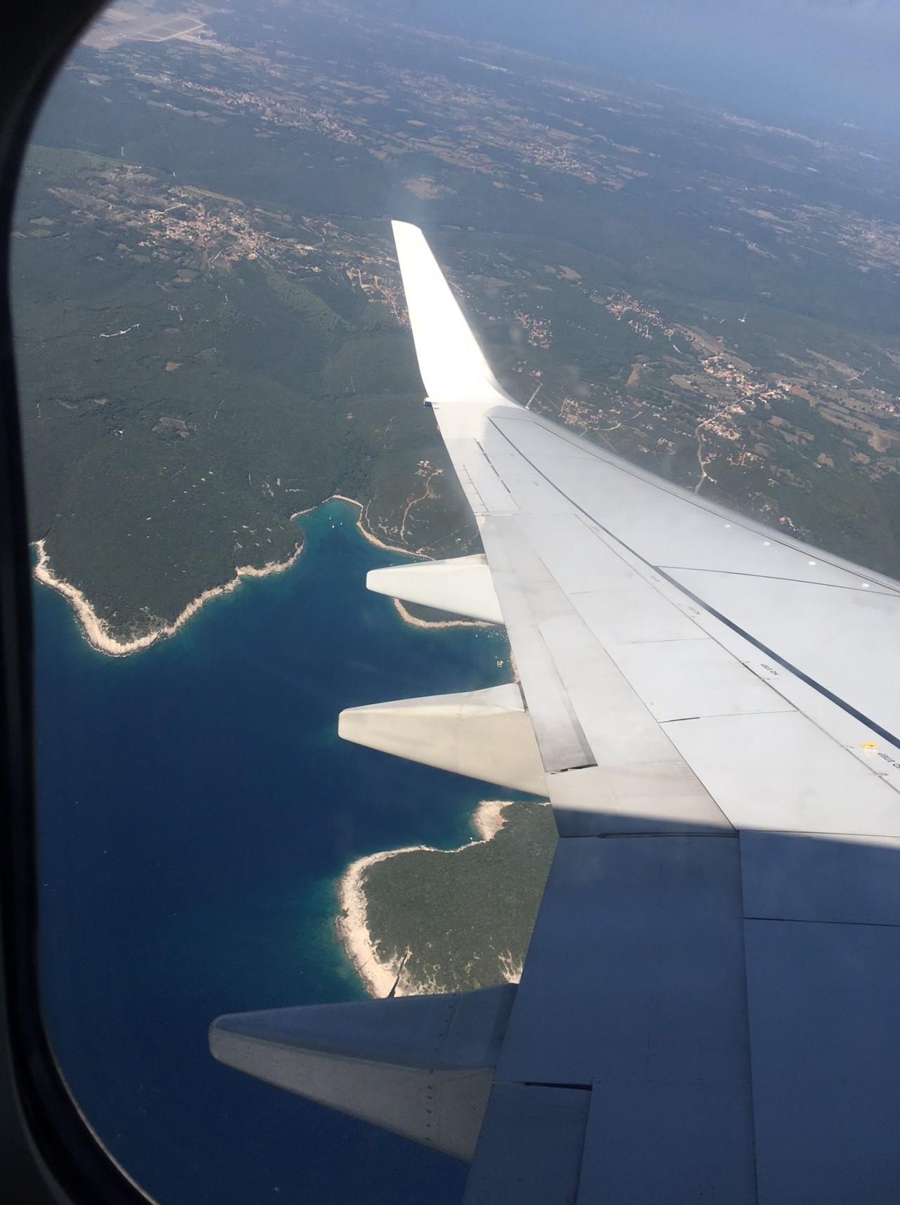 View of Istrian coastline from aeroplane