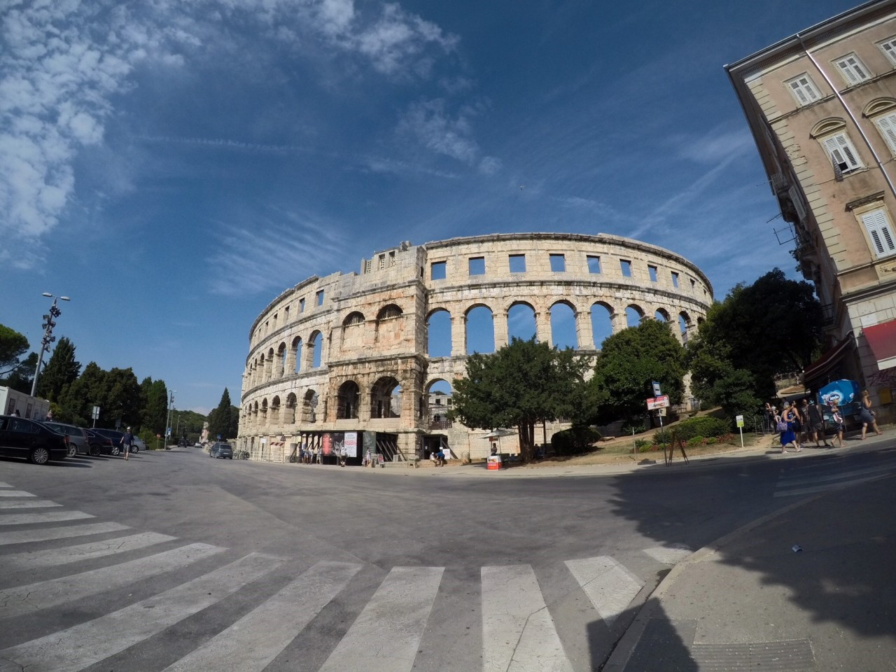 The outside of the Pula colosseum
