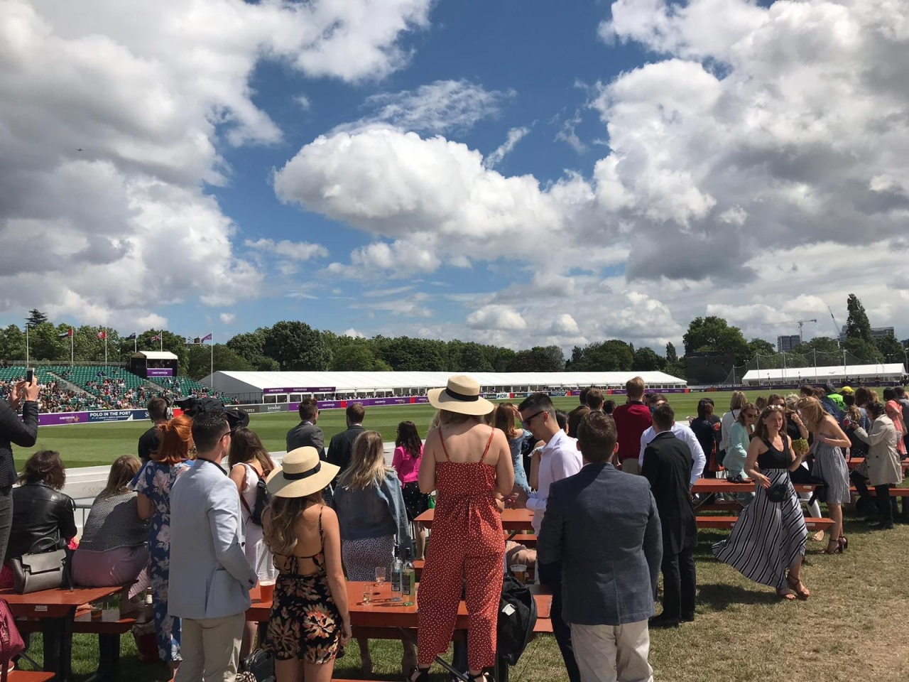 Crowds at polo in the park