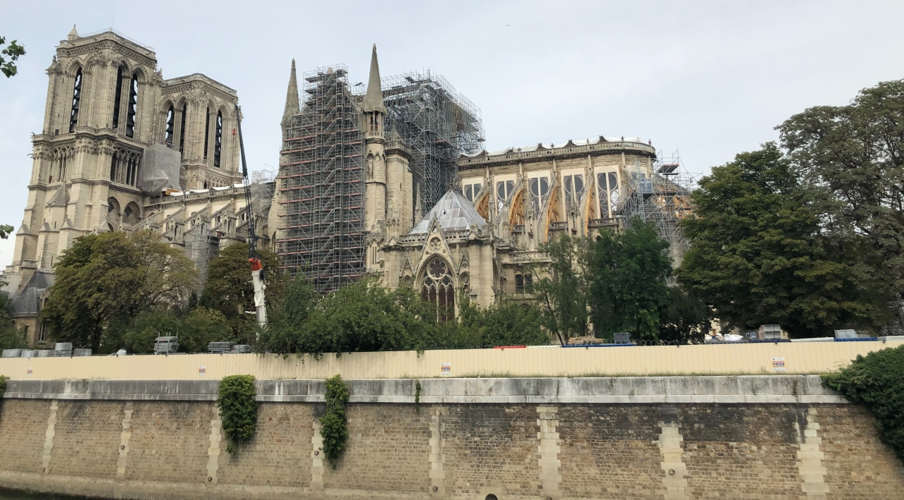 Scaffolding holding parts of Notre Dame Cathedral in Place