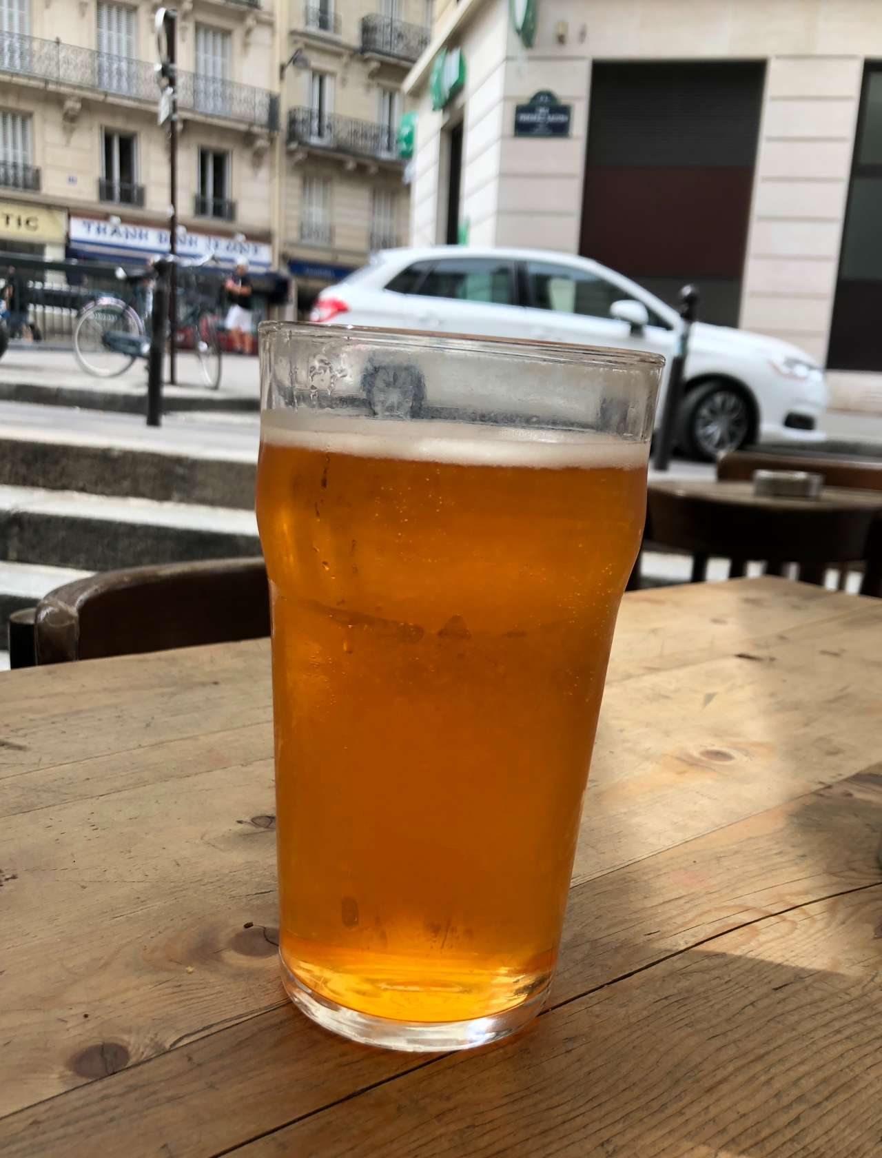 A ludicrously expensive pint in a Parisian cafe