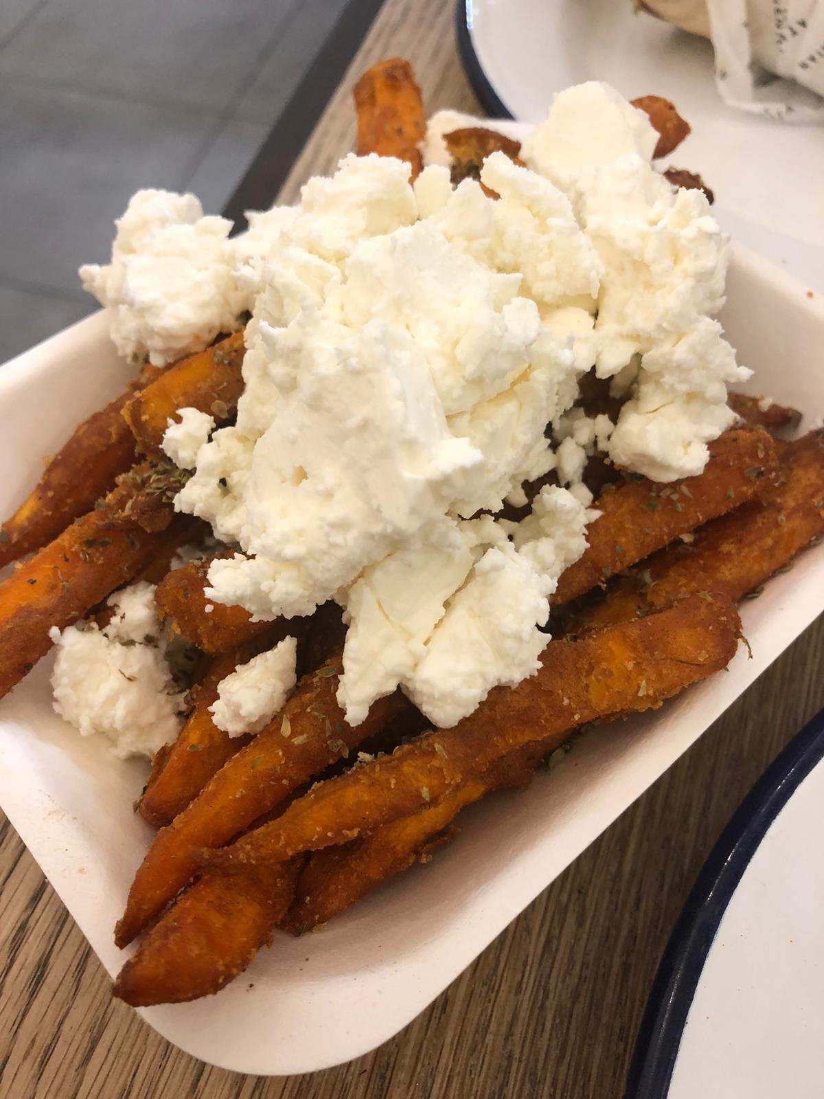 The athenian sweet potato fries with feta